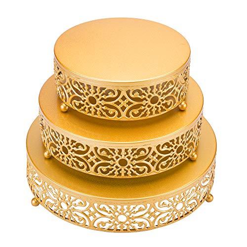 SUCHDECO Alzata per Dolci Set di 3, Alzata per Torta Oro, Alzata per Torta Rotonda Elegante, Alzata per Torta in Metallo, Lzata per Dessert,Piatto Torta