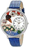 チョコレート ロイヤルブルーレザーバンド シルバーフレーム腕時計#U0310007