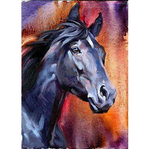 MXJSUA DIY 5D Diamond Painting Full Round Drill Kit Rhinestone Picture Art Craft for Home Wall Decor 12x16In Gray-Blue Horse