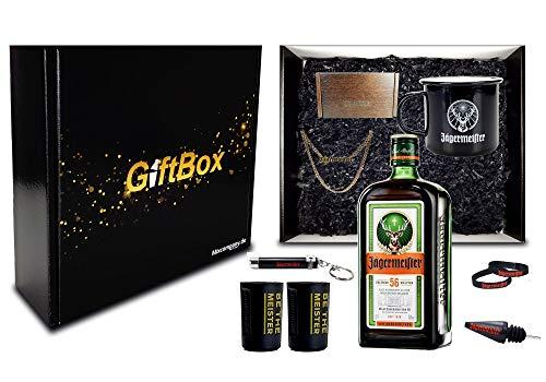 Jägermeister Giftbox Geschenkset - 10teilig mit Jägermeister Kräuterlikör 0,7l 700ml (35% Vol) Bar Drink - [Enthält Sulfite]
