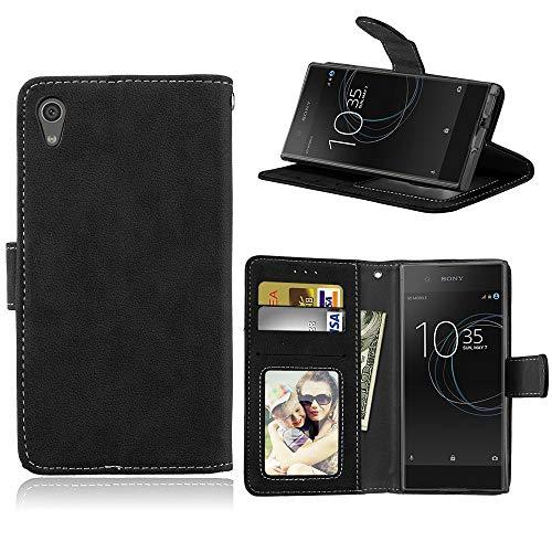 Sangrl Lederhülle Schutzhülle Für Sony Xperia XA1 / Z6, PU-Leder Klassisches Design Wallet Handyhülle, Mit Halterungsfunktion Kartenfächer Flip Hülle Schwarz