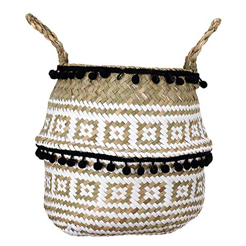 N-brand Seagrass Woven Storage Basket Plant Wicker Hanging Baskets Garden Flower Vase Potted Foldable Potwith Handle& Small Ball