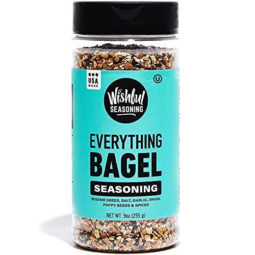 Wishful Everything Bagel Seasoning Original XL 9 Ounce Jar, Blend of Sea Salt, Spices, Sesame Seeds, Dried Onion Flakes & Garlic Seasoning, Gluten Free & Keto Seasoning
