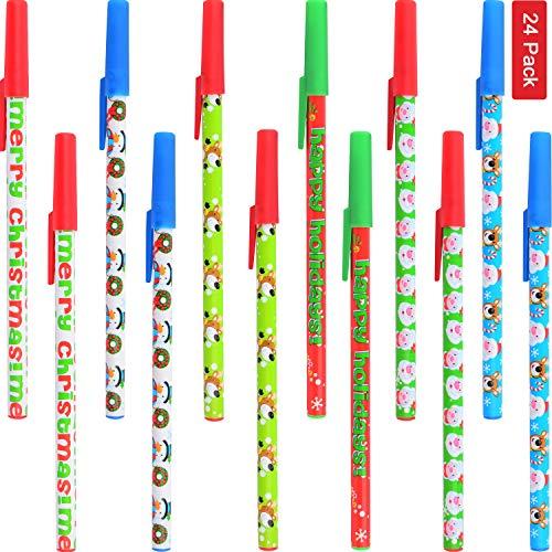 Sunshane 24 Pieces Christmas Stick Pens Set Holiday Ballpoint Pens for Christmas Home Decor Party Gift (Color Set 1) Massachusetts