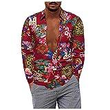 D-Rings Camisa de manga larga para hombre, estilo casual, tallas grandes, de algodón y lino, camisa de manga larga, camisa informal de negocios, rojo, XXXXXL