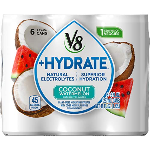 V8 +Hydrate Plant-Based Hydrating Beverage, Coconut Watermelon, 8 Fl Oz. Can, 6 Count (Pack of 4)
