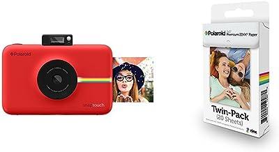 Polaroid Snap Touch cámara digital con impresión instantánea y pantalla LCD (rojo) con tecnología Zero Zink + Polaroid Premium Zink Paper - Paquete de 20 papeles fotográficos (compatibles con Polaroid Snap Z2300, Socialmatic y la impresora móvil ZIP, 5 x 7.6 cm), color blanco
