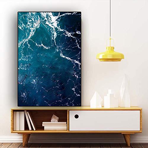 Abstracte golf donkerblauw oceaan zee golf canvas schilderij poster en afdrukken Scandinavische stijl woonkamer decoratie muurkunst afbeelding zonder lijst