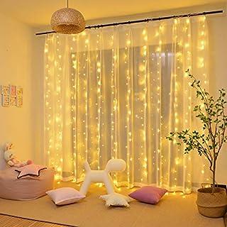 Luces de Cadena de Cortina, 3x3㎡ 300 Luces de Cadena de Ventana LED Impermeables 31V, para Ambientes de Bodas al Aire Libre, Fiesta, Navidad, Decoración de Dormitorio, Blanco Cálido