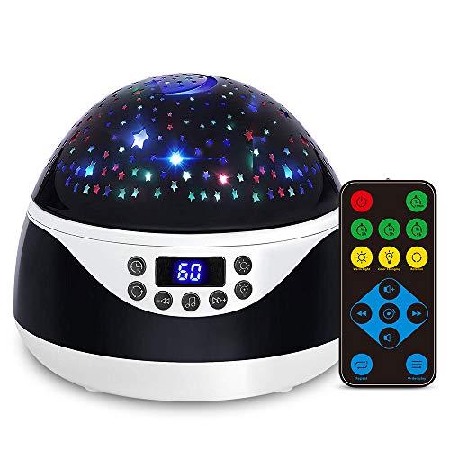 Ohiyoo Sternenhimmel Projektor Lampe, Musik Nachtlicht Lampe 360°Rotation 12 Beruhigende Musik 8 Romantische Licht, LED Nachtlicht mit Timing Schlaflicht Perfektes für Kinder, Geburtstage, Halloween.