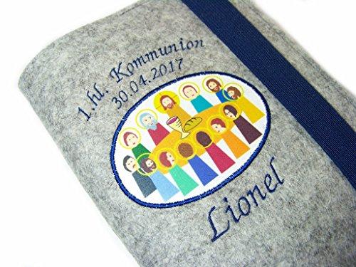 Gotteslobhülle Hülle für Gotteslob Merino Wollfilz Filz 1.hl. Kommunion inkl. Name + Datum + Abendmahl Aufnäher