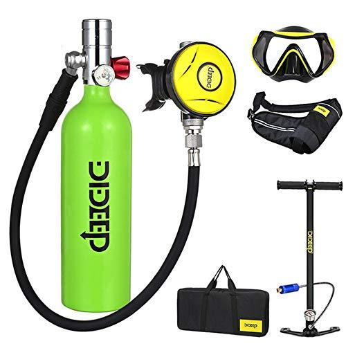 Tanque de Buceo Portátil, 1L Aluminio Mini Buceo Tanque de Oxígeno Respirador Subacuático Bomba de Aire de Alta Presión Cilindro de Buceo Kit de Equipo de Buceo Snorkeling con Inflador,Verde,1L