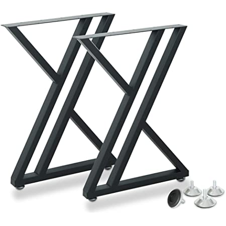 """Metal Industrial Dining Modern Table Legs Desk Legs Base Cast Iron Welding Wrought Iron Coffee Table Bench Legs Night Stand Office Table 28 inch Triangle Shape Black DIY (1 Set of 2 pcs) 28""""H x19.7"""""""