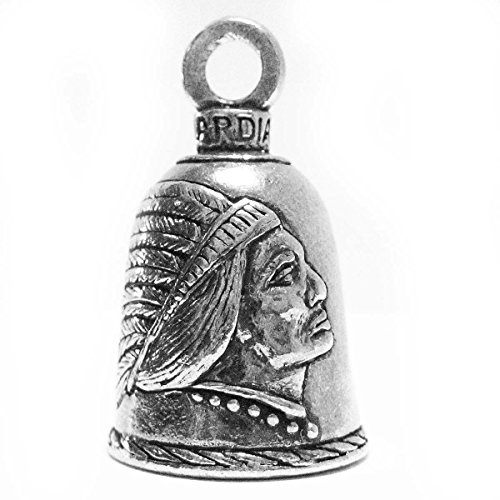 Guardian Indian in Headdress Motorcycle Biker Luck Gremlin Riding Bell or Key Ring