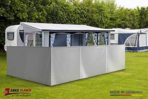 (Meterware) Windschutz Sichtschutz Camping aus LKW Plane (LKW-Planenqualität) stabil m. Laschen&Ösen AN-KO Trading (120cm hoch, Grau RAL7004)