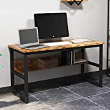IRONCK Computer Desk 55' with Bookshelf, Office Desk, Writing Desk, Wood and Metal Frame, Industrial Style, Study Table Workstation for Home Office Furniture