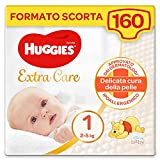 Huggies Extra Care Bebè Pannolini, Taglia 1 (2-5Kg), Confezione da 160 Pannolini