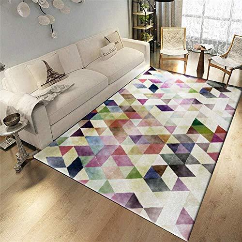 LXESWM Vloerkleed voor in de woonkamer, meerkleurig, driehoekig, soft-touch-designer, voor op de vloer, groot tapijt, salontafel, mat, slaapkamer