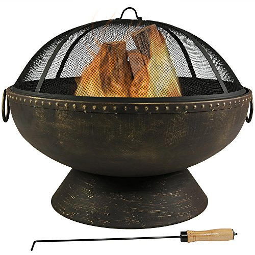 Sunnydaze Outdoor Fire Pit Bowl - 30 Inch Large Round Wood Burning Patio & Backyard Firepit