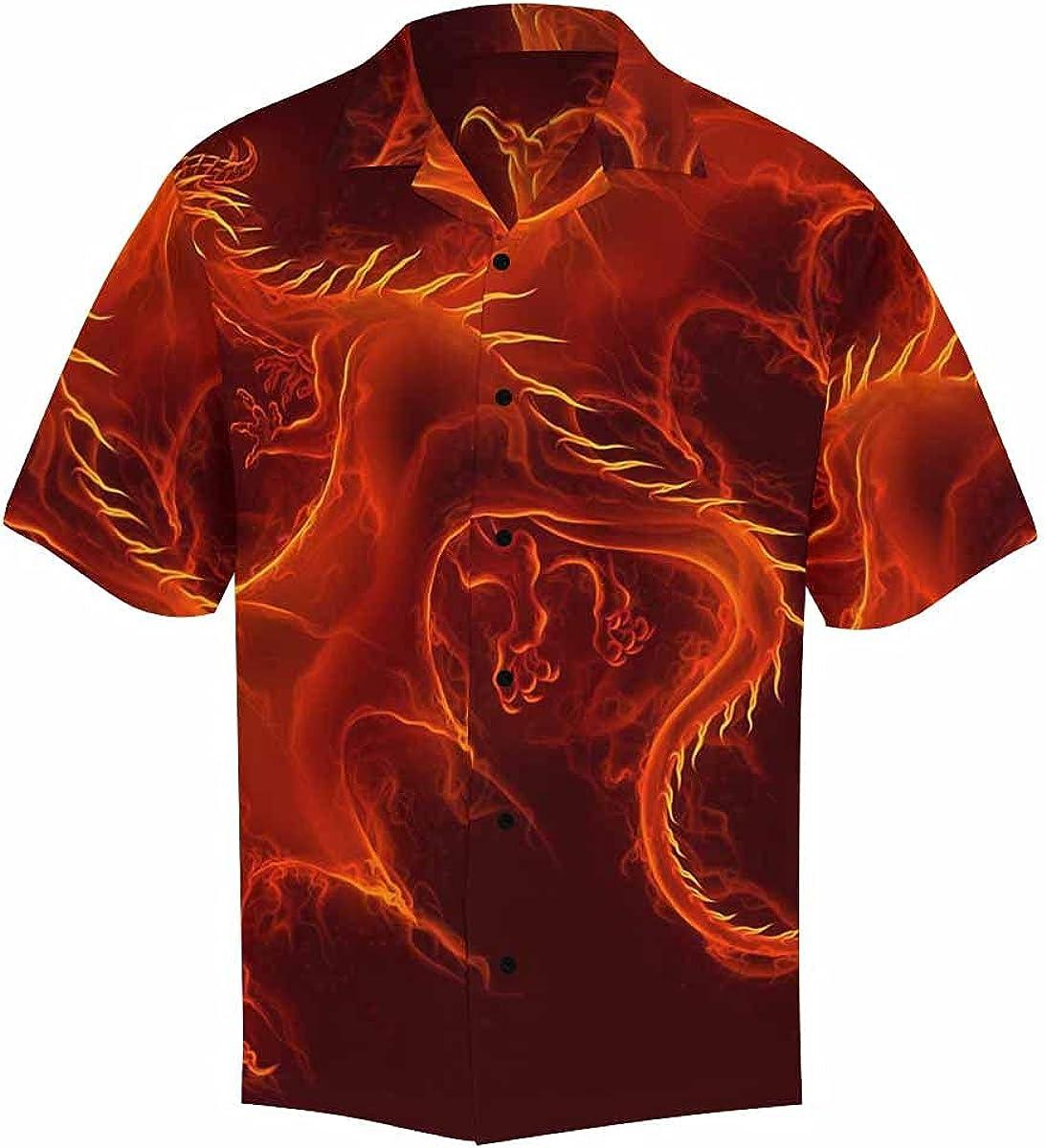 InterestPrint Men's Casual Button Down Short Sleeve Fantasy Scene Dragon Hawaiian Shirt (S-5XL)