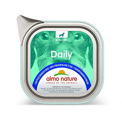 almo nature - Paté per cani con pesce bianco e riso, 100 g, confezione da 32