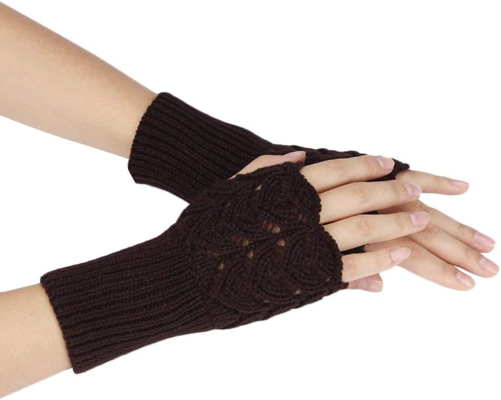 FASGION Women's Autumn Winter Gloves Warm Fingerless Sports Touch Screen Gloves Stretch Knit Mittens Half Fingerless Gloves 2019 (Color : Coffee, Gloves Size : One Size)
