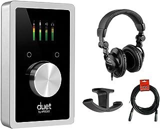 Apogee Electronics Duet USB Audio Interface with Polsen HPC-A30 Studio Monitor Headphones, Dual Headphone Hanger Mount & 20' XLR Cable Bundle