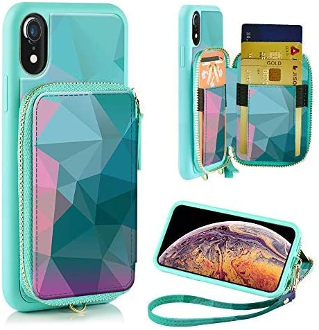 iPhone XR Wallet Case, ZVE iPhone XR Case with Credit Card Holder Slot Leather Wallet Zipper Pocket Purse Handbag Wrist Strap Print Case for Apple iPhone XR 6.1 inch 2018, Diamond