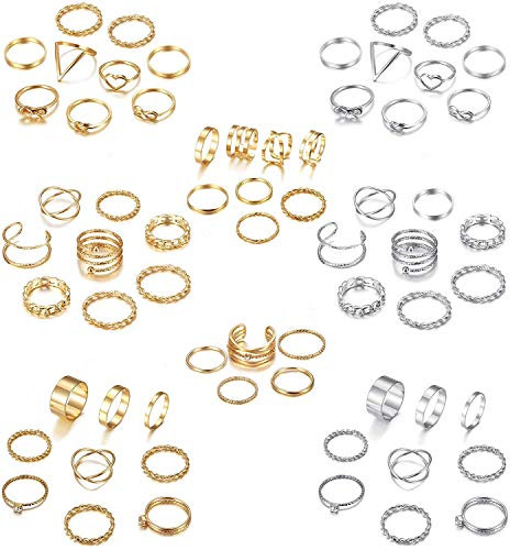 Adramata 65PCS Bohemian Knuckle Ring Midi Ring Set Hollow Silver Gold Vintage Stackable Rings Fashion Finger Knuckle Midi Rings for Women …
