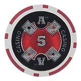 Brybelly Ace Casino Poker Chip Heavyweight 14-gram Arcilla Compuesto–Pack de 50, Rojo ($5 Red)