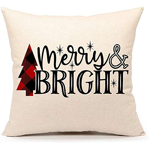 WEURIGEF Christmas Saying Merry Bright Throw Pillow Cover Red Buffalo Check Tree Funda de cojín para sofá sofá 45 * 45 cm Algodón Lino
