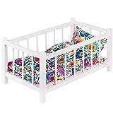 GOLDKIDS Puppenbett weiß Spielzeug Holzspielzeug mit Textilausrüstung Bettwäsche Matratze...