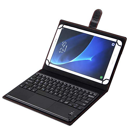 Funda con Teclado Bluetooth de 9/10 Pulgadas para ASUS Lenovo Huawei Tablet Flip Teclado inalámbrico Funda de Cuero con Soporte + bolígrafo-Negro