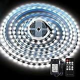 KWODE - Tira de luces LED (5 m, luz blanca fría, con mando a distancia, 6000 K, intensidad regulable, autoadhesiva, con fuente de...