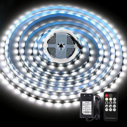 LED Strip 5M Kaltweiß, KWODE Streifen mit Fernbedienung, 6000K Dimmbar Led Lichtband Selbstklebend, Led Band mit 12V Netzteil für Küchen, Wohnmobil, Innen Hintergrund, Indirekte Beleuchtung