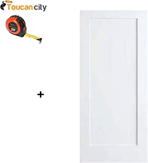Toucan City Tape Measure and Kimberly Bay 28 in. x 80 in. White 1-Panel Shaker Solid Core Wood Interior Door Slab DPSHA1W28