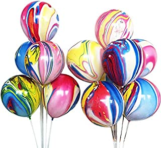 50 Pcs Rainbow Agate Marble Latex Balloons, Color Marble Tie Dye Swirl Effect Easter Balloons for Easter Decoration, Wedding, Birthday Party Decor