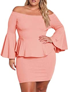 1df24075bfcf Yskkt Womens Plus Size Peplum Dresses Off The Shoulder Short Sleeve Bell  Sleeve Ruched Bodycon Sexy