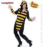 narrenwelt Biene Big Bee mit Plüsch 50 1tlg Damen Longshirt Big Shirt Fasching Bienen-Kostüm für...