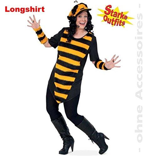 narrenwelt Disfraz de abeja Big Bee con peluche 50, 1 pieza, para mujer, camiseta larga, disfraz de abeja para mujeres fuertes, tallas grandes