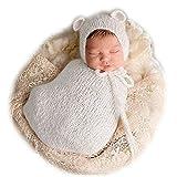 Vemonllas Fashion Newborn Boy Girl Baby Costume Knitted Photography Props Hat Sleeping Bag White