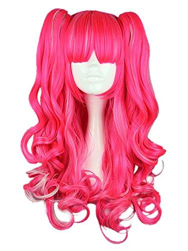 CLOCOLOR Halloween Cosplay Peluca de Dos Colas de Caballo Peinado para Mujer Chica Peluca de Pelo Rizado Sintético Natural Postizo Largo Rizado Infantil Halloween Club Color Rosa Brillante