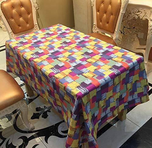 QWEASDZX Mantel Sencillo y Moderno Algodón y Lino Mantel Ligero y Transpirable Resina de algodón teñida Mantel Rectangular 100x140cm