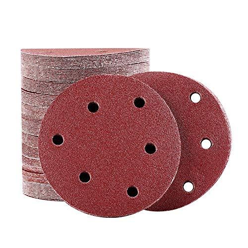 25 Stück Schleifscheiben 15,2 cm 6 Loch Schleifpapier Blatt Klett-Schleifpapier sortiert 40 60 80 100 120 Körnung für Exzenterschleifer 150 mm, 25 Stück