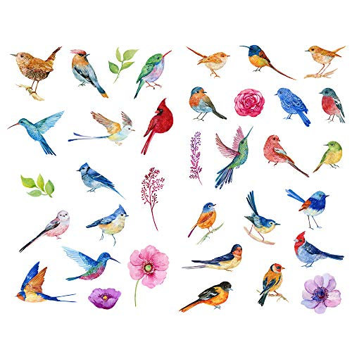 Seasonstorm Watercolor Birds Sparrow Precut Cute Aesthetic Diary Travel Paper Junk Journal Stickers Scrapbooking Stationery Sticker Flakes Art Supplies (PK421)