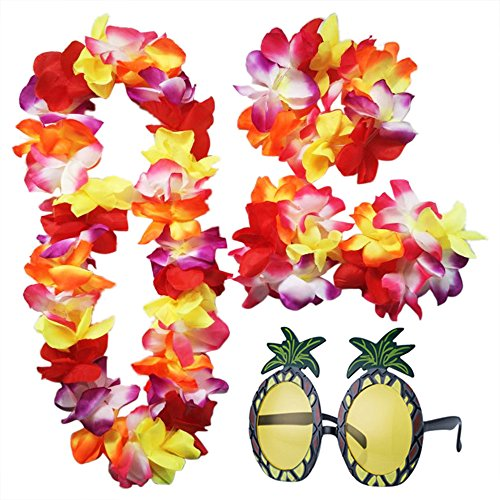 iLoveCos Hawaiian Luau Blume Lei und Ananas Sonnenbrille Party Eyewear für Dekoration Luau Beach Thema Party