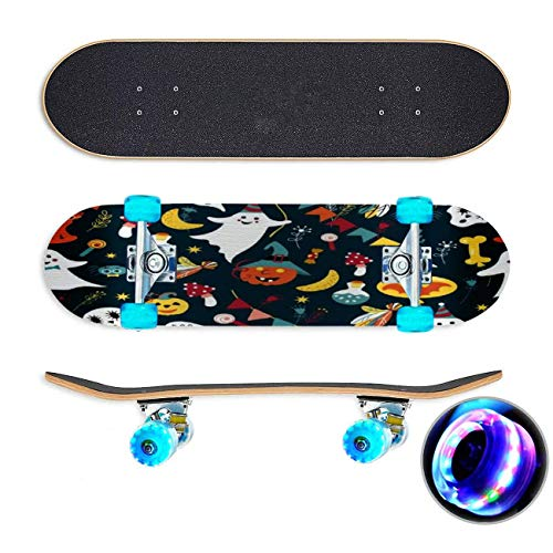 Het patroon van Halloween met leuke geest pompoen spin op web Skateboard Colorful Flashing Wheels Extreme Sports&Outdoors 31''Cruiser Complete Standard Longboard Beginners Kids Cool Boys Teen