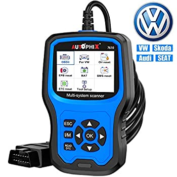 Car Code Reader for VW Audi Skoda Seat All Series Enhanced AP7610 Full-Systems Diagnostic Scanner With Transmission EPB ABS SRS DPF TPMS Check Engine Oil Service & Brake Pad Reset Tool [New Version]