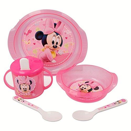 Disney Minnie Mouse Paint Pot Set Micro Easy Baby 5 pièces (bol, bol, tasse et 2 cuillères)