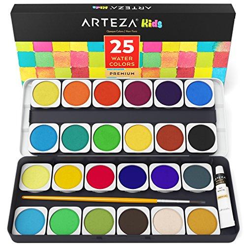 Arteza Kids Premium Watercolor 25 Color Non-Toxic Paint Set